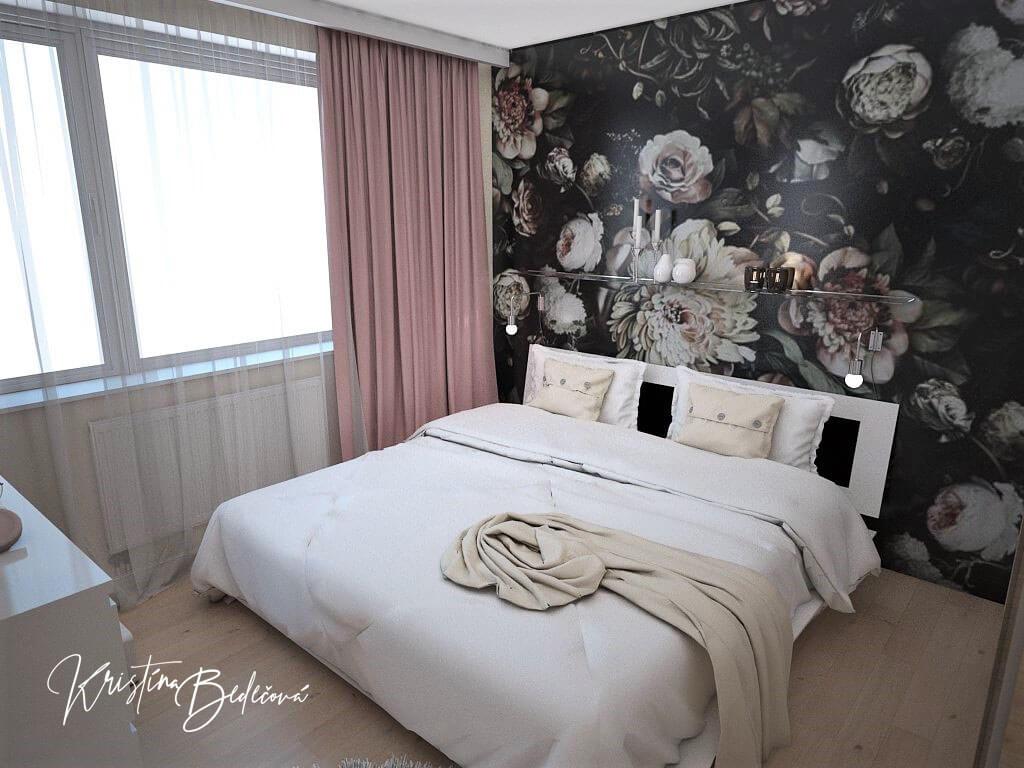 Návrh interiéru bytu Romantika v akcii, pohľad na postel spálne