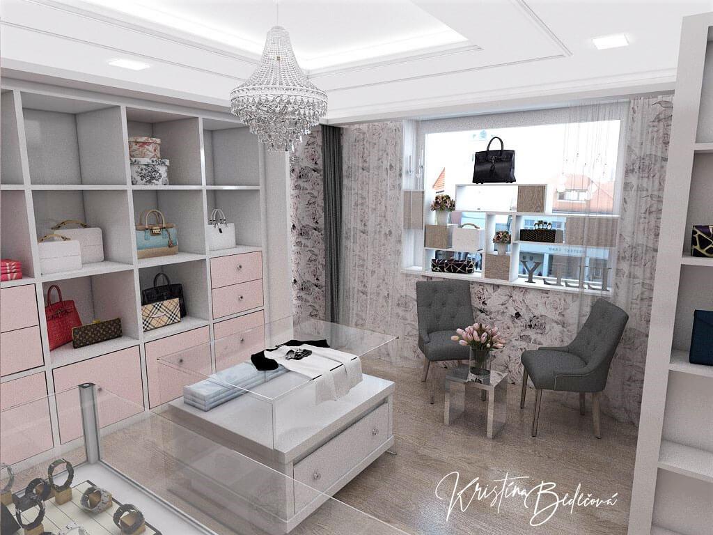 Návrh interiéru butiku, pohľad od pokladne