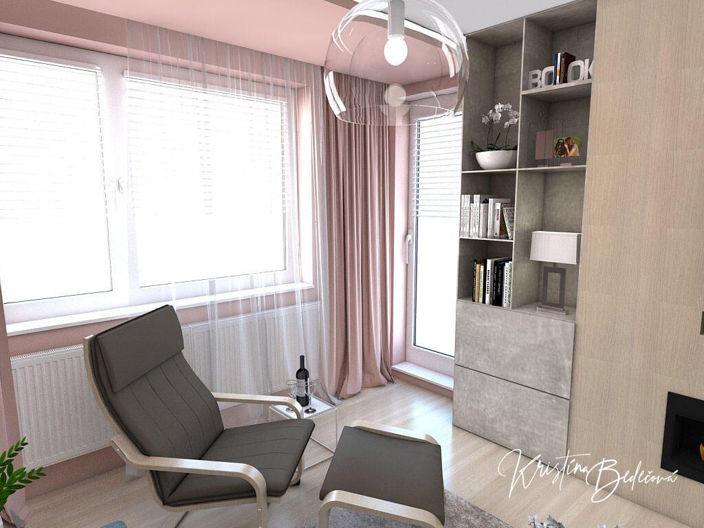 Návrh interiéru obývačky Biokrb v paneláku, pohľad na okno