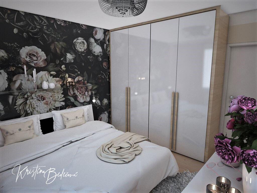 Návrh interiéru bytu Romantika v akcii, pohľad na skriňu v spálni