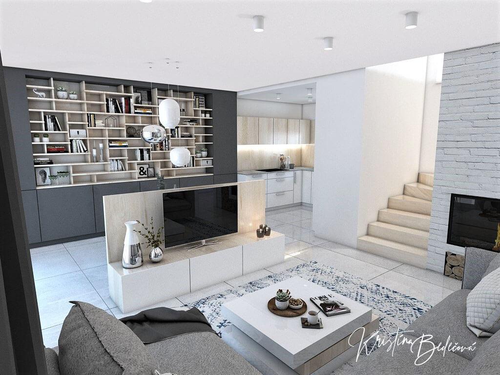 Návrh obývačky s kuchyňou Knižnica ako ozdoba, pohľad na televízor