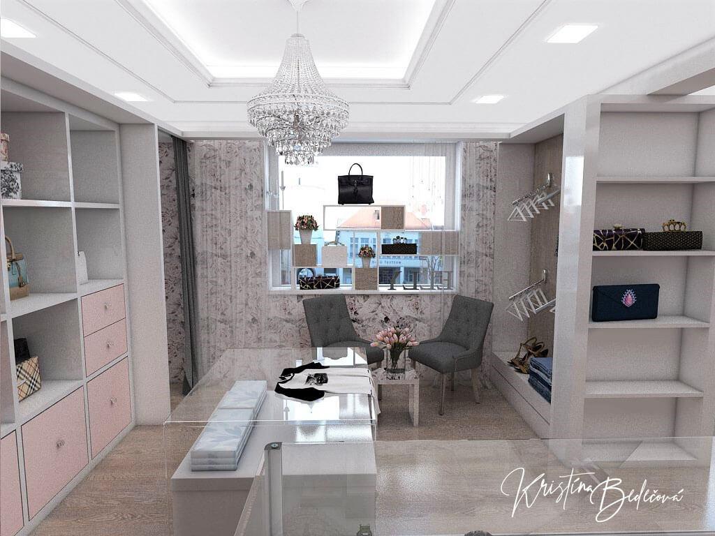 Návrh interiéru butiku, ďalší pohľad od pokladne