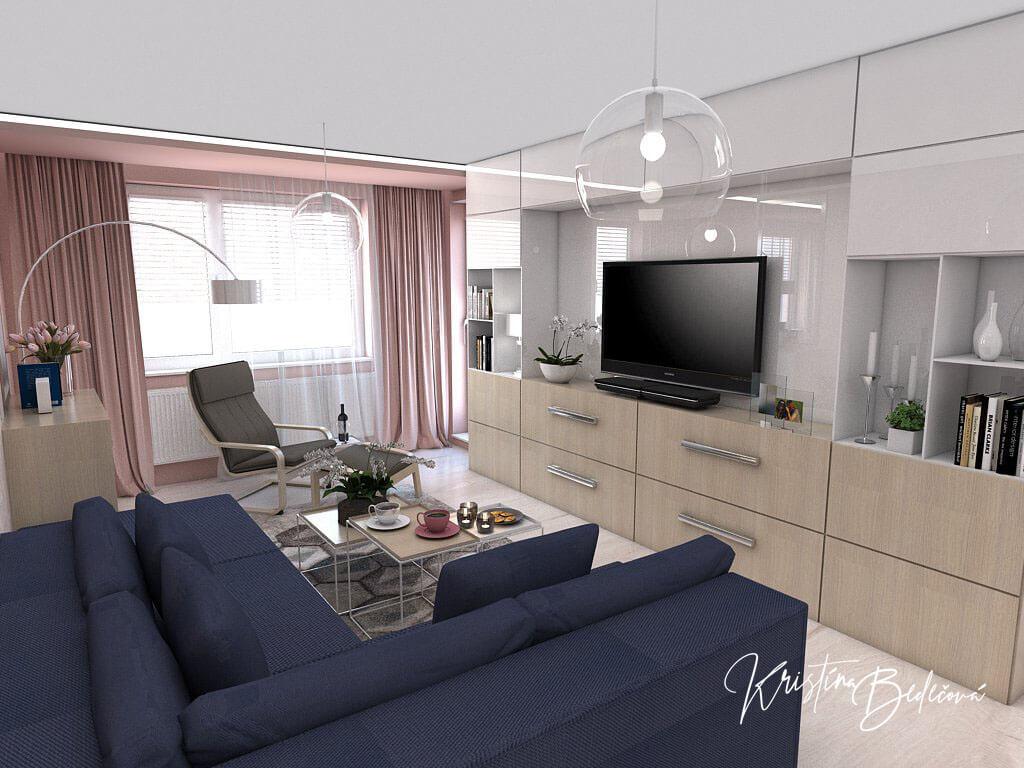 Návrh interiéru obývačky Biokrb v paneláku -alternatíva, pohľad na modrú sedačku