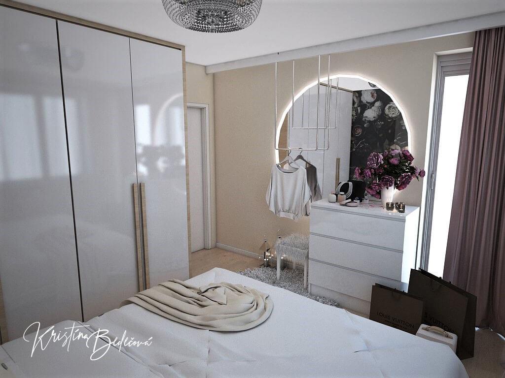 Návrh interiéru bytu Romantika v akcii, pohľad cez posteľ v spálni