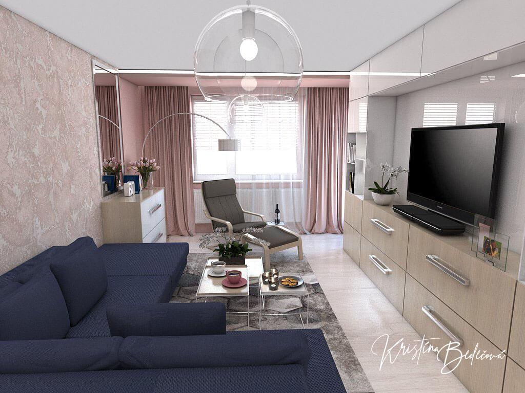 Návrh interiéru obývačky Biokrb v paneláku -alternatíva, pohľad na modrú sedačku a okno