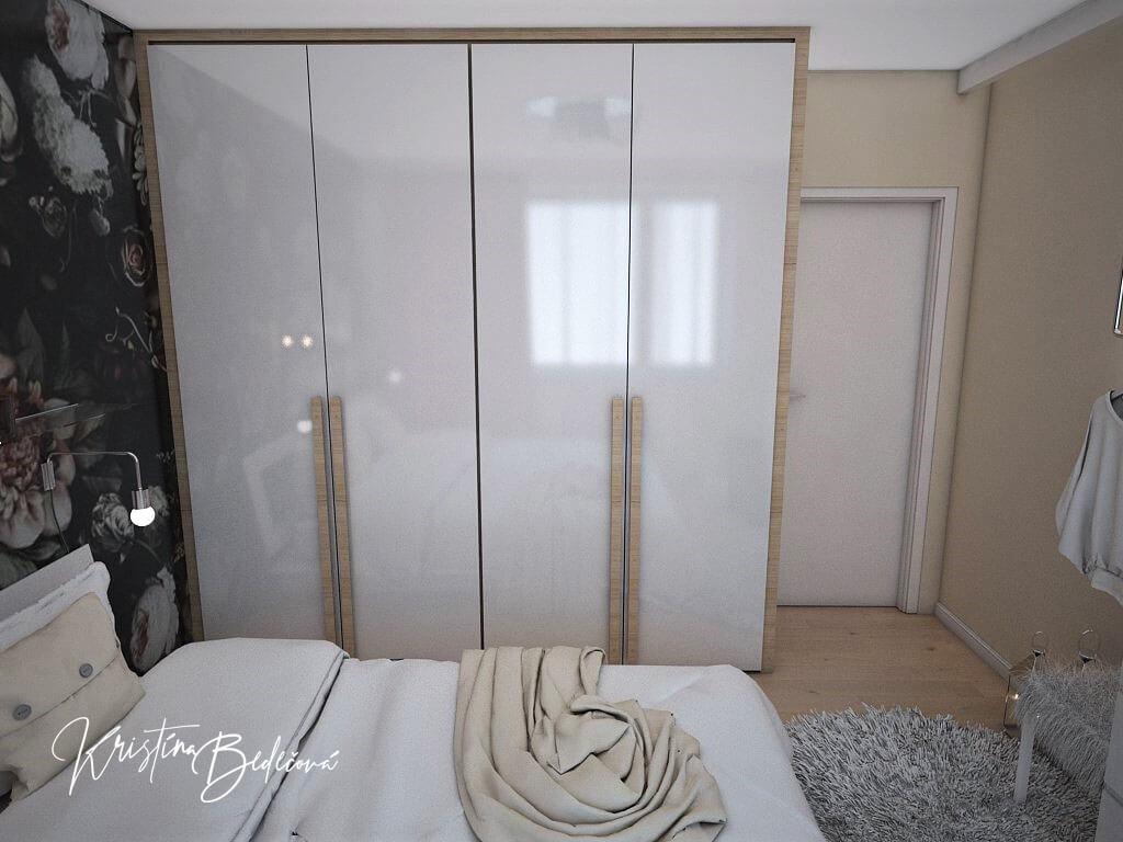 Návrh interiéru bytu Romantika v akcii, pohľad na posteľ a šatníkovú skriňu v spálni
