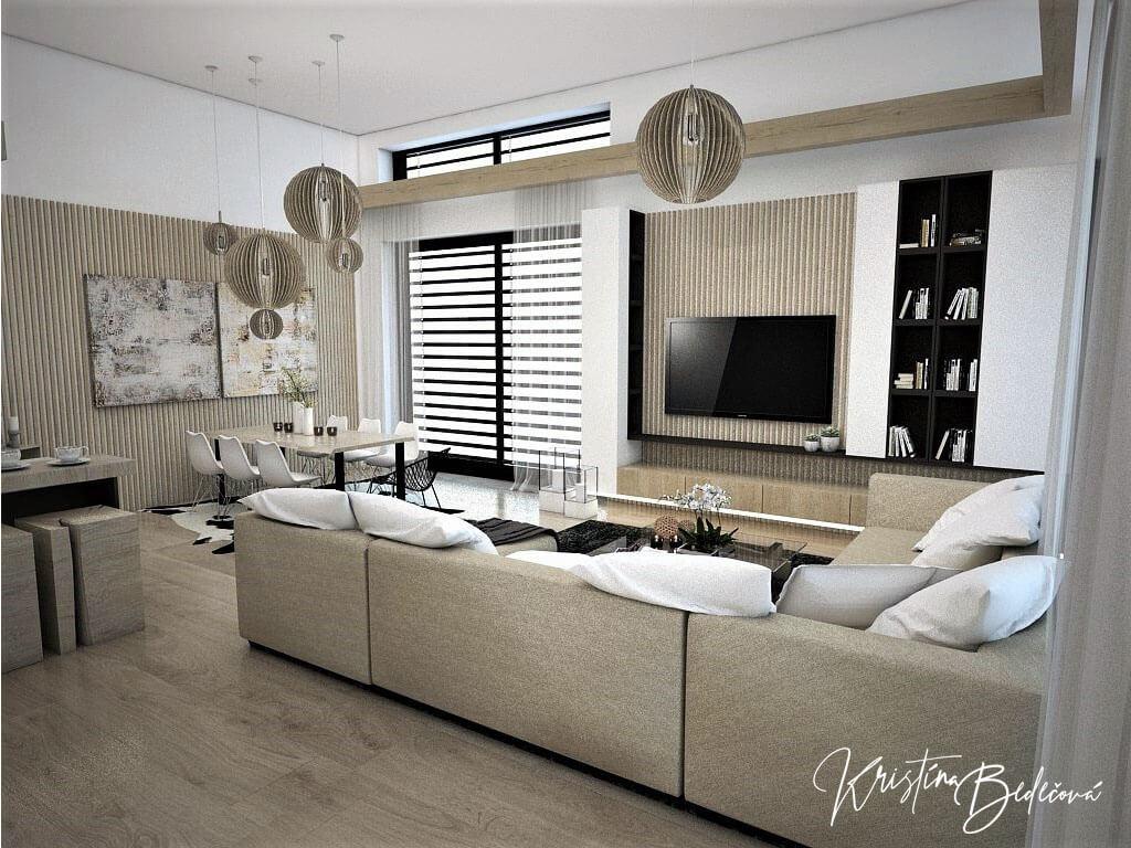 Návrh obývačky s kuchyňou Prírodné prvky v interiéri, ďalší pohľad cez sedačku