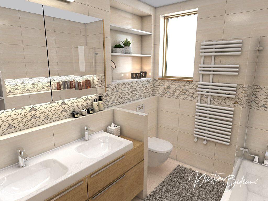 Návrh kúpeľne V novom šate, pohľad na umývadlo a záchod