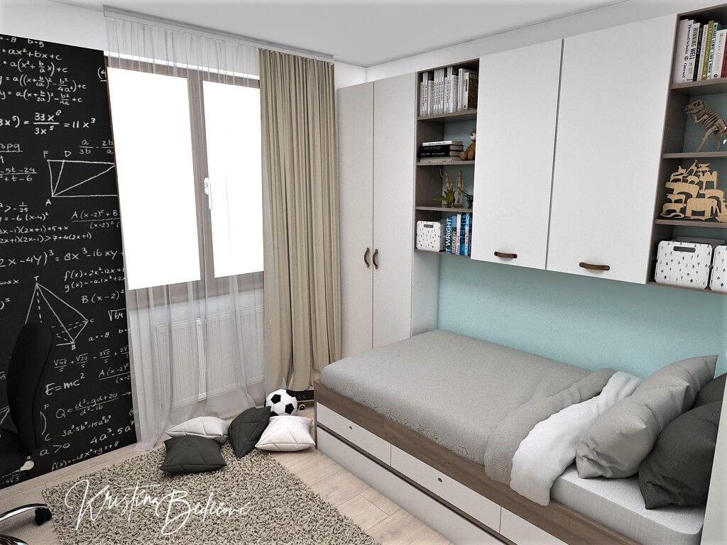 Návrh interiéru detskej izby Samkova oáza, pohľad na okno
