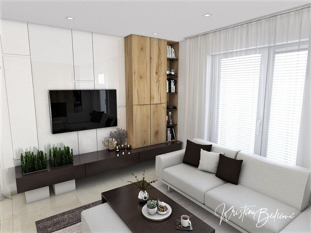 Návrh interiéru obývačky Úzka ale praktická, pohľad na televízor zo sedačky