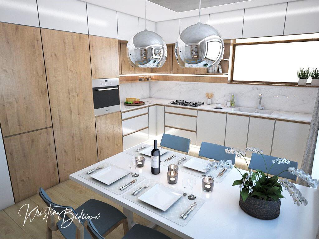 Návrh kuchyne Svet vôní, pohľad na druhú časť kuchynskej linky