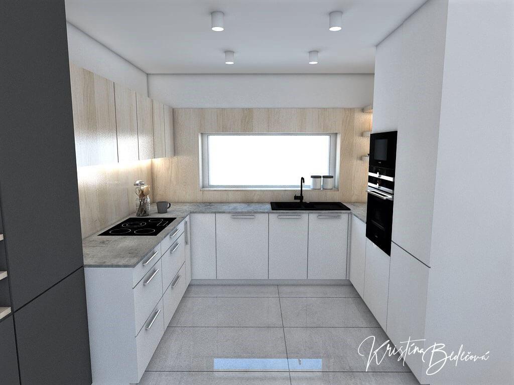 Návrh obývačky s kuchyňou Knižnica ako ozdoba, pohľad na kuchynskú linku