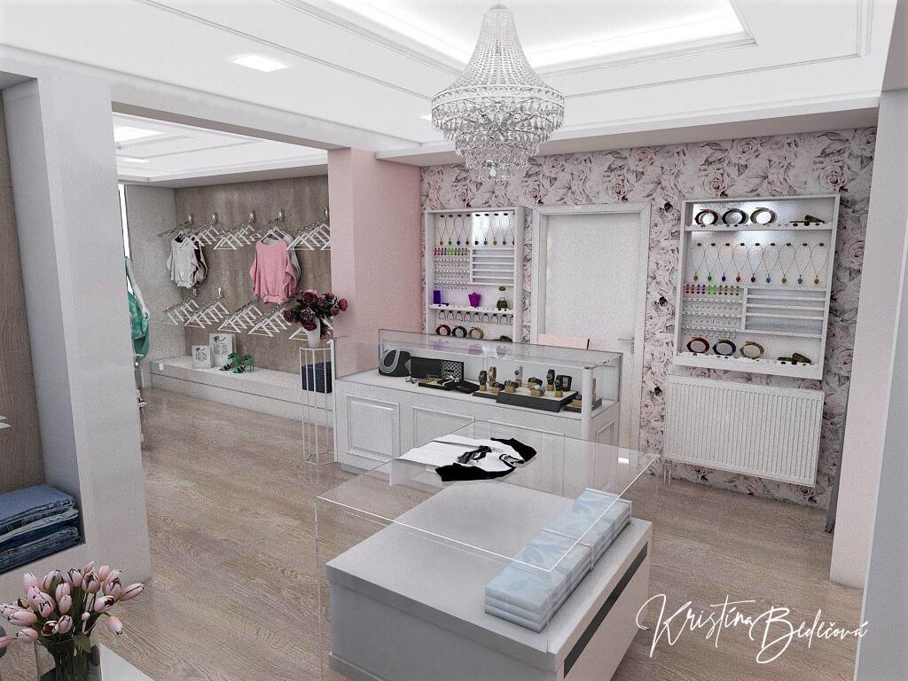 Návrh interiéru butiku, pohľad na pokladňu