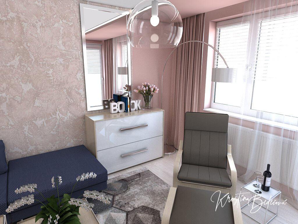 Návrh interiéru obývačky Biokrb v paneláku -alternatíva, pohľad na odpočívacie kreslo
