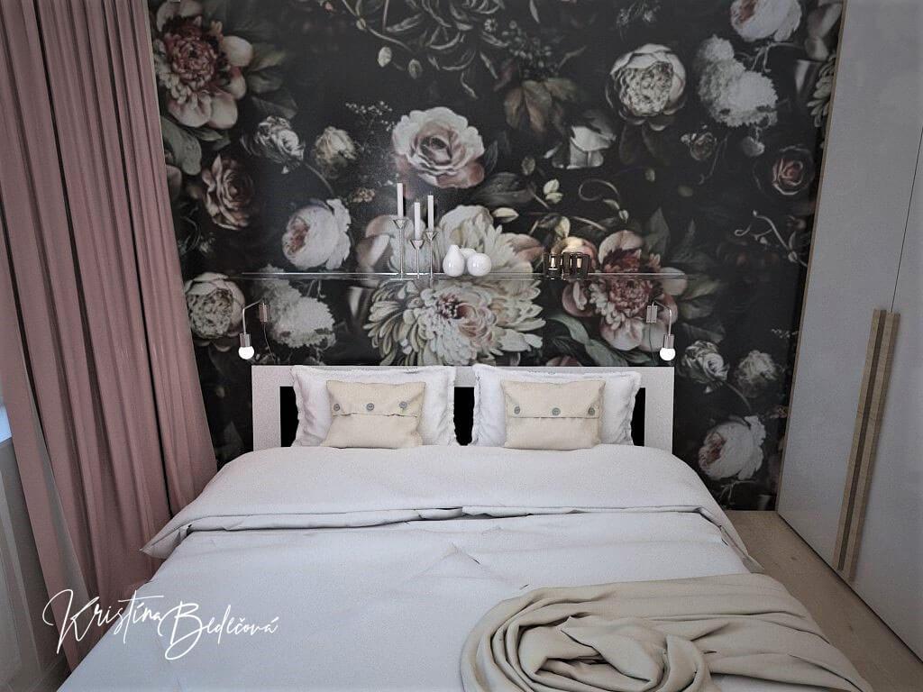 Návrh interiéru bytu Romantika v akcii, pohľad na manželskú posteľ v spálni
