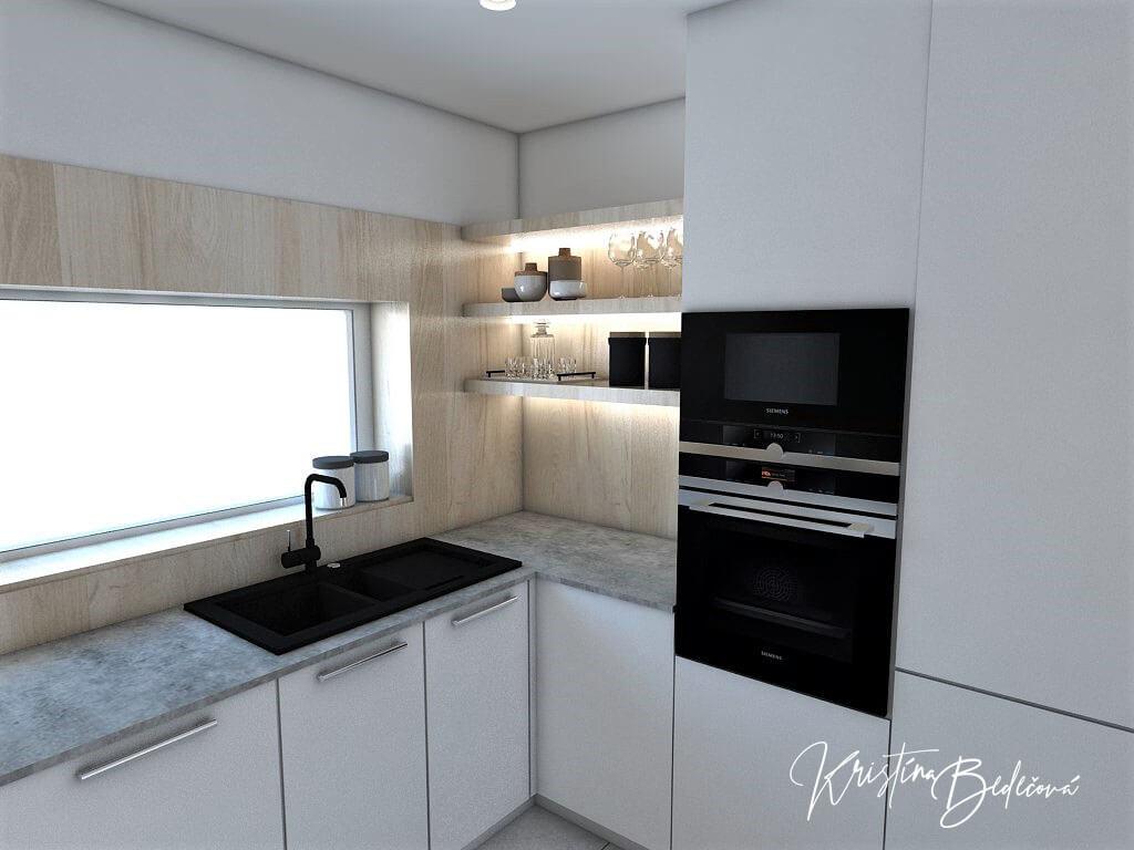 Návrh obývačky s kuchyňou Knižnica ako ozdoba, pohľad na okno v kuchyni