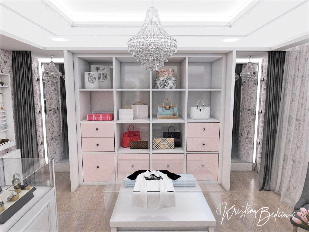 Návrh interiéru butiku, pohľad na skúšobné kabínky