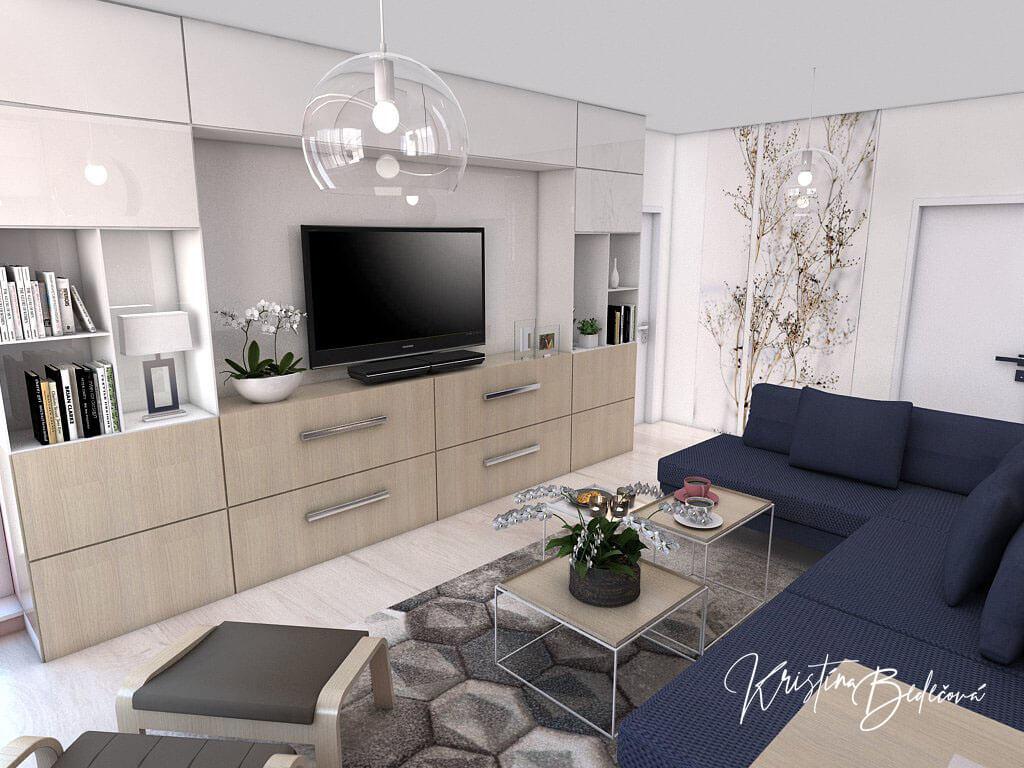 Návrh interiéru obývačky Biokrb v paneláku -alternatíva, pohľad na modrú sedačku a televízor