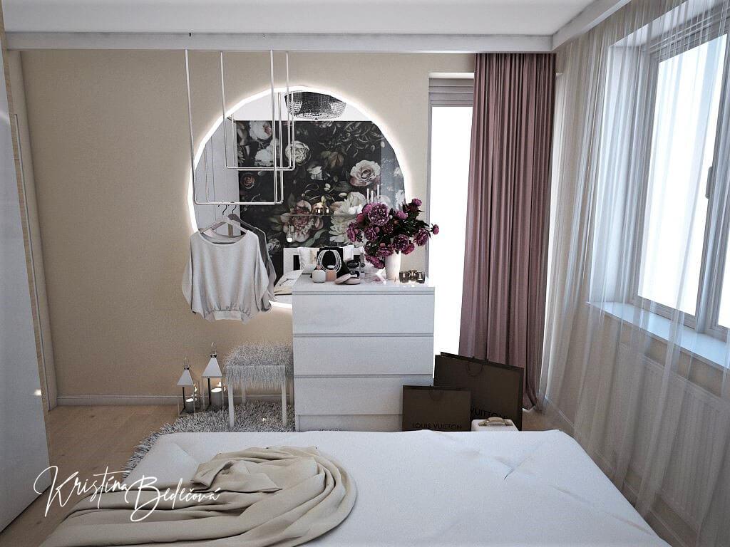 Návrh interiéru bytu Romantika v akcii, pohľad na posteľ a zrkadlo v spálni