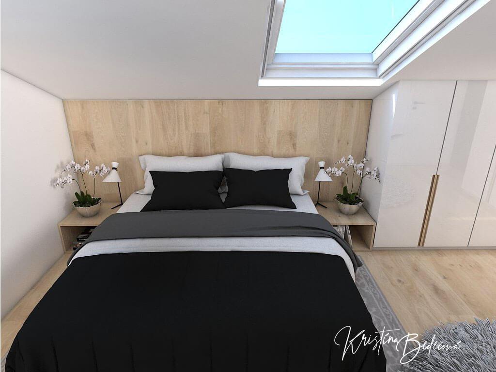 Návrh spálne Pod strešným oknom, pohľad na manželskú posteľ