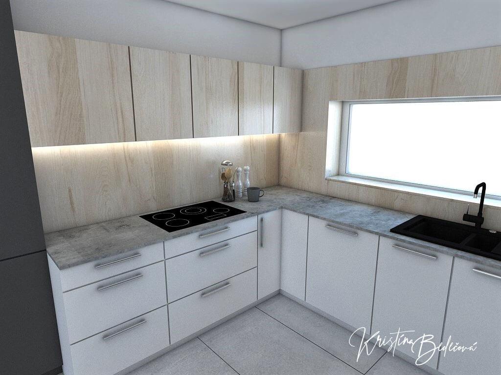 Návrh obývačky s kuchyňou Knižnica ako ozdoba, pohľad na sporák
