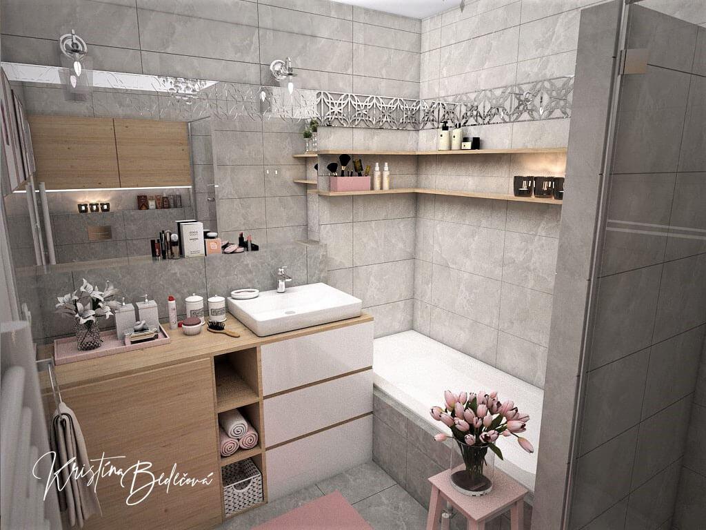 Návrh interiéru bytu Romantika v akcii, pohľad na kúpeľňu od záchoda