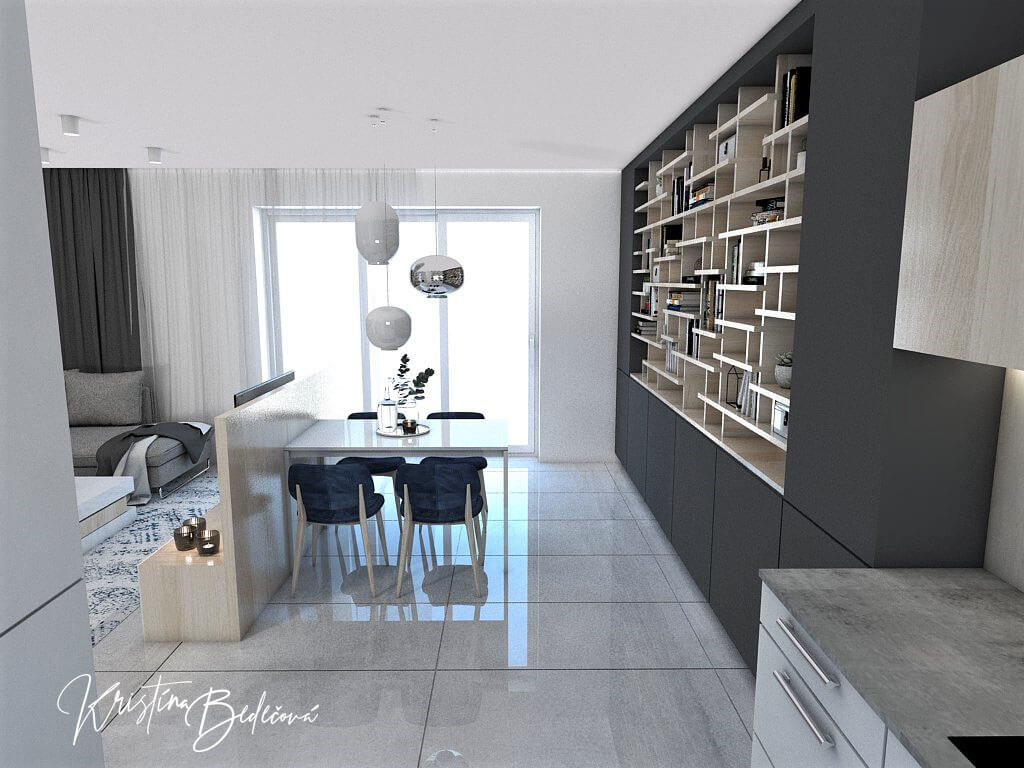 Návrh obývačky s kuchyňou Knižnica ako ozdoba, ďalší pohľad na jedálenský stôl