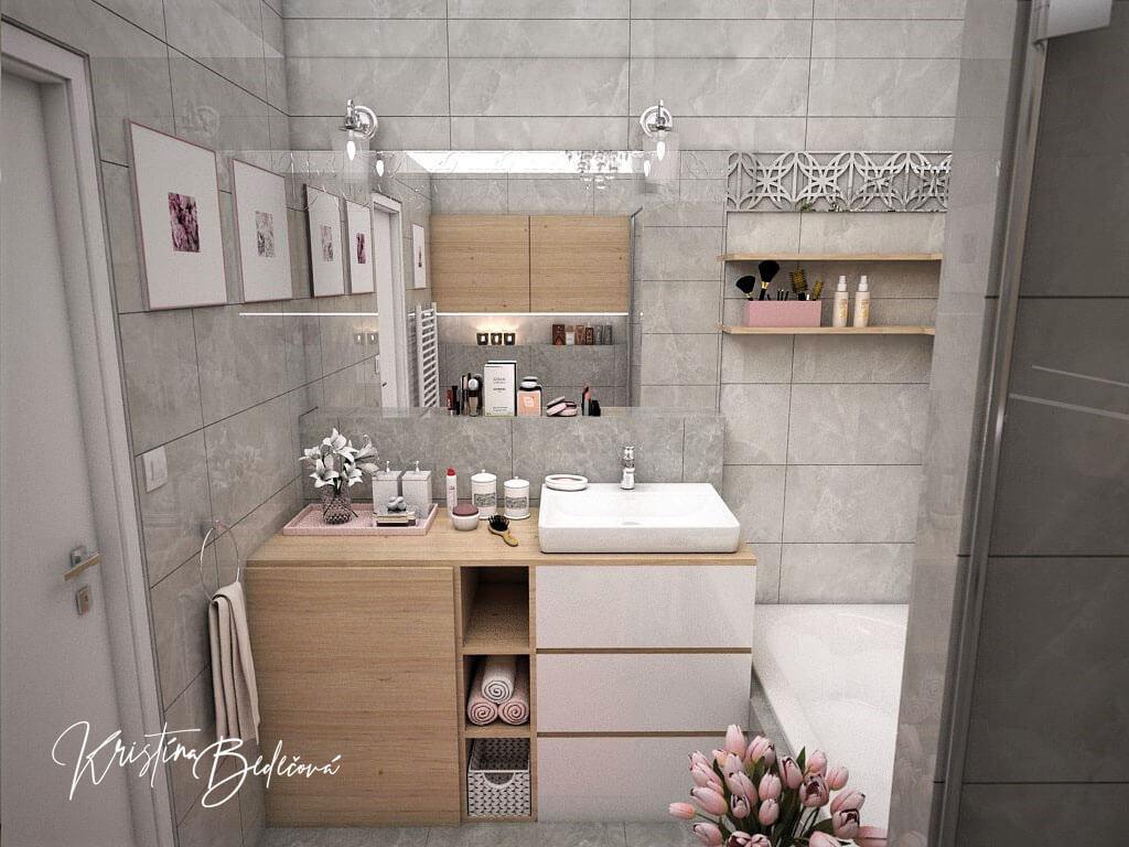Návrh interiéru bytu Romantika v akcii, ďalší pohľad na kúpeľňu so zatvorenou pračkou
