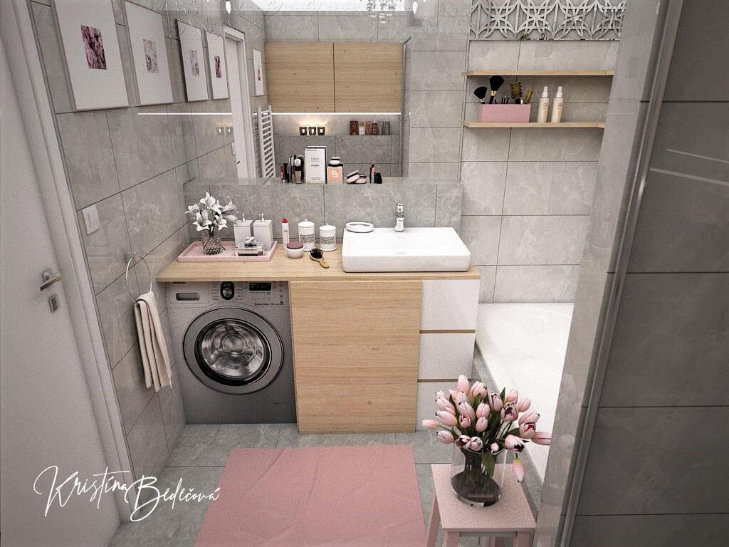 Návrh interiéru bytu Romantika v akcii, pohľad na kúpeľňu s otvorenou pračkou