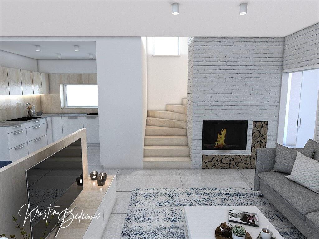 Návrh obývačky s kuchyňou Knižnica ako ozdoba, pohľad na schodisko