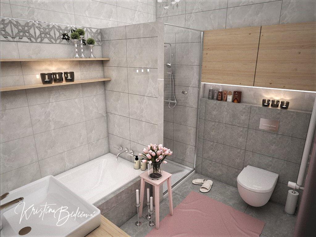 Návrh interiéru bytu Romantika v akcii, pohľad na sprchový kút kúpeľne