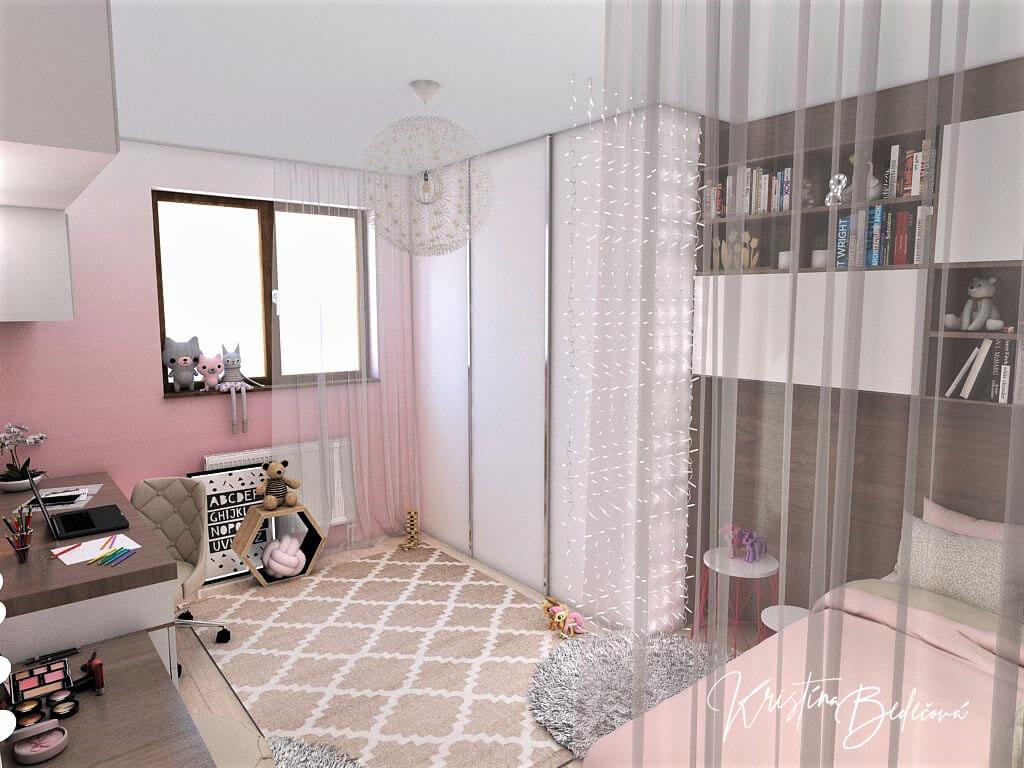 Návrh detskej izby Ombre stenám pristane -alternatíva, pohľad na zmenenú vstavanú skriňu