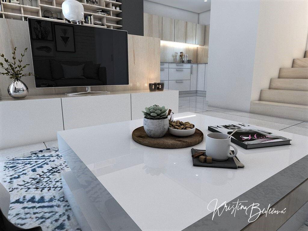 Návrh obývačky s kuchyňou Knižnica ako ozdoba, pohľad z jedálenského stola