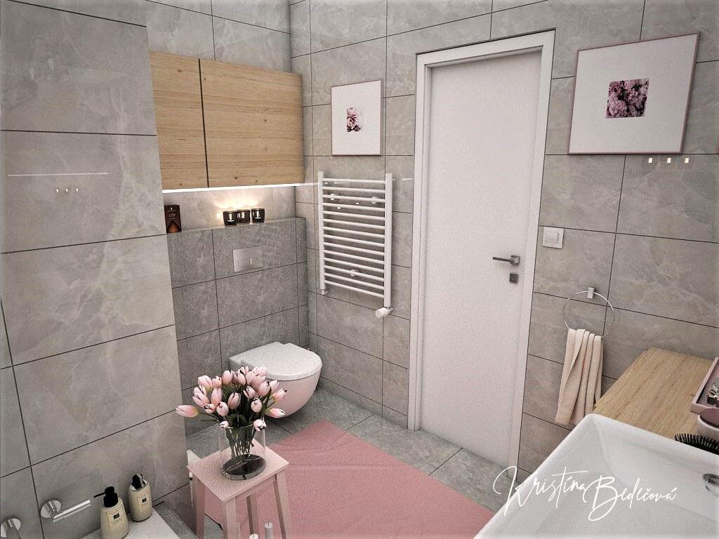 Návrh interiéru bytu Romantika v akcii, pohľad na vstup do kúpeľne