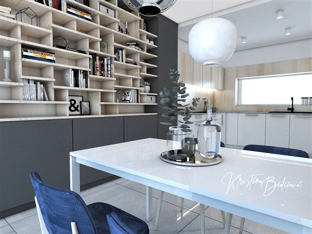 Návrh obývačky s kuchyňou Knižnica ako ozdoba, ďalší pohľad z jedálenského stola