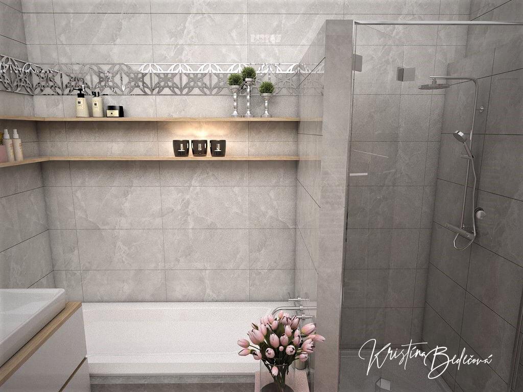 Návrh interiéru bytu Romantika v akcii, pohľad na vaňu v kúpeľni