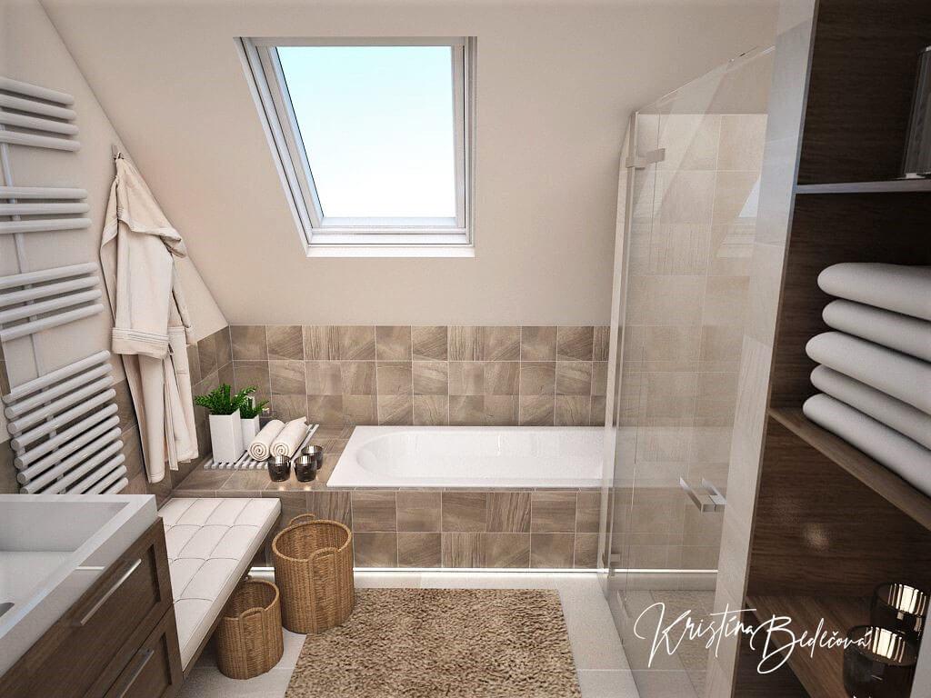 Návrh interiéru kúpeľne Stredozemie v kúpeľni, pohľad na vaňu