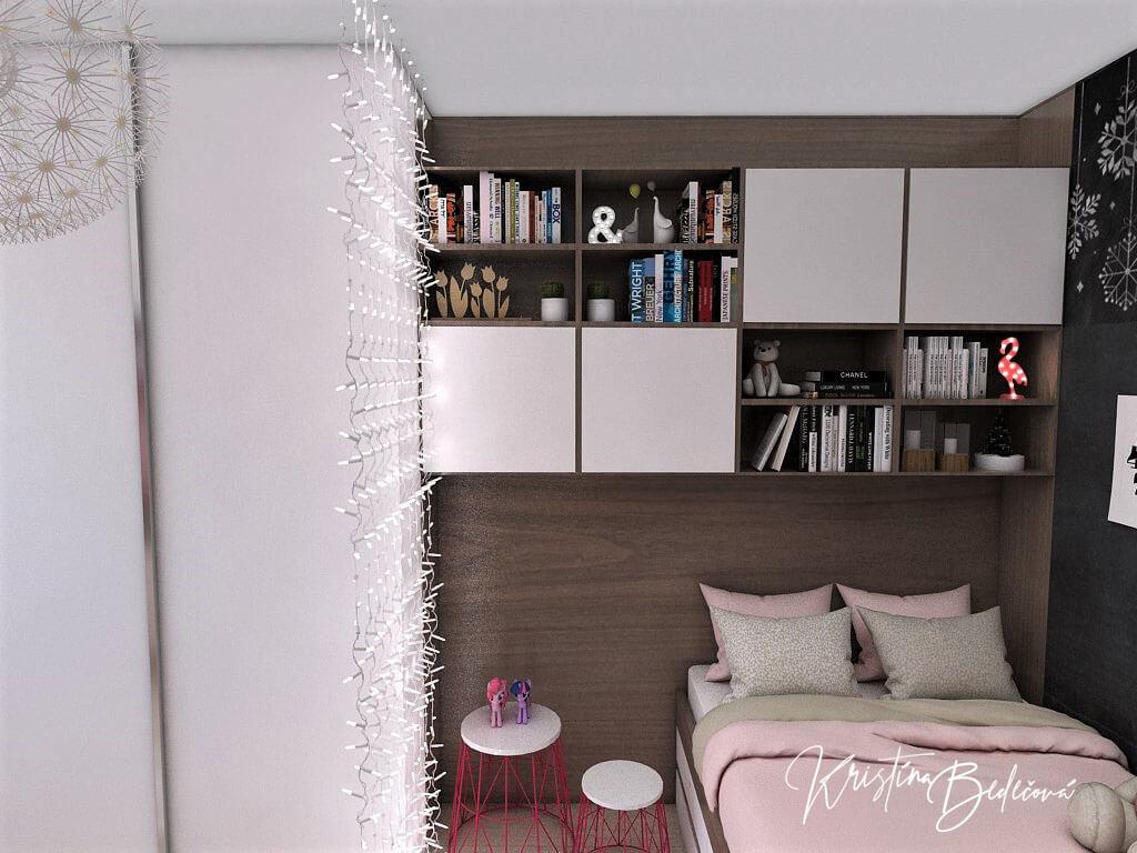 Návrh detskej izby Ombre stenám pristane -alternatíva, pohľad na zmenenú posteľ a vstavnú skriňu