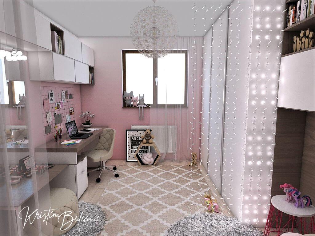 Návrh detskej izby Ombre stenám pristane -alternatíva, pohľad cez izbu so zmenenou vstavanou skriňou