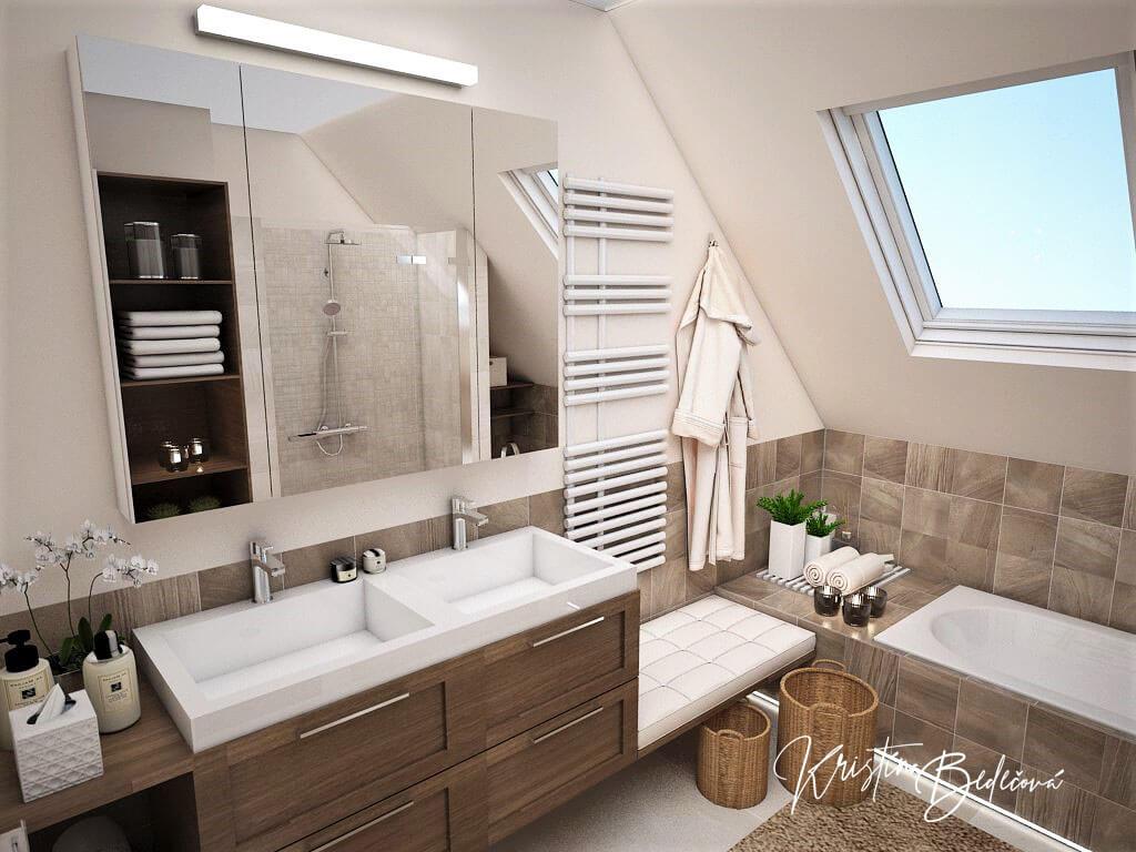 Návrh interiéru kúpeľne Stredozemie v kúpeľni, pohľad na umývadlá a strešné okno