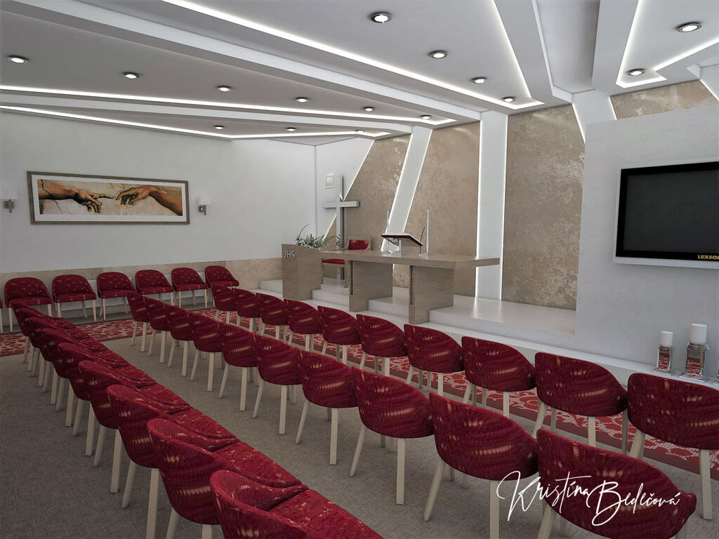 Návrh interiéru kaplnky Moderná kaplnka, pohľad z boku