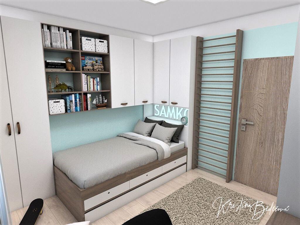 Návrh interiéru detskej izby Samkova oáza, pohľad na postel