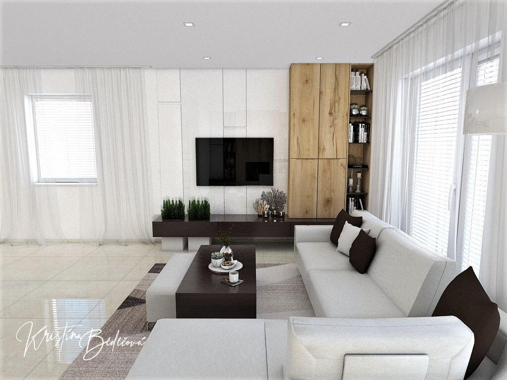 Návrh interiéru obývačky Úzka ale praktická, pohľad spoza sedačky na televízor