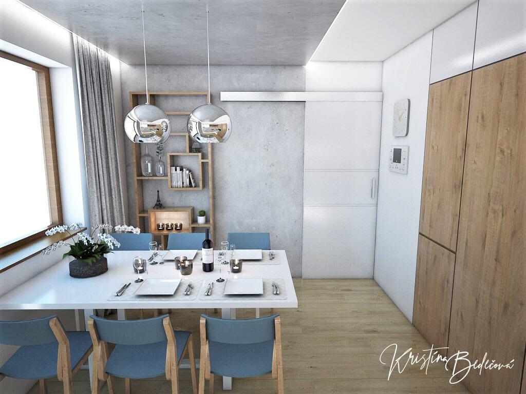 Návrh kuchyne Svet vôní, pohľad na jedálenský stôl