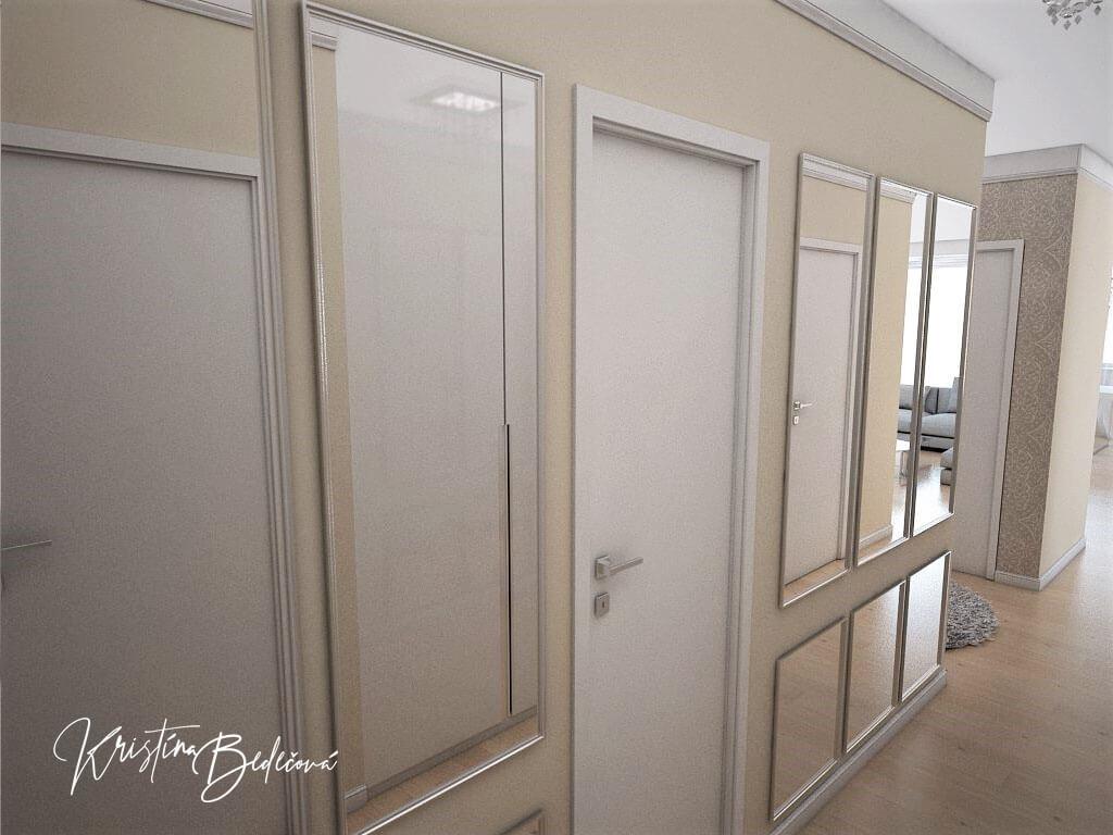 Návrh interiéru bytu Romantika v akcii, ďalší pohľad na zrkadlovú stenu