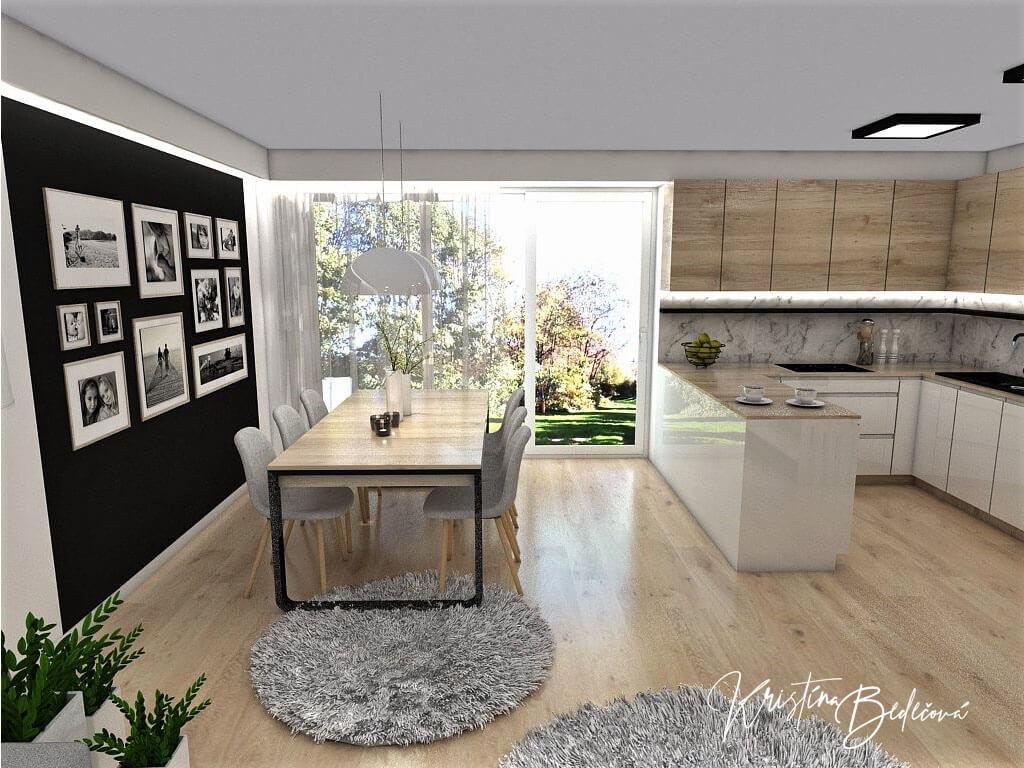 Interiérový návrh kuchyne s obývačkou Po schodoch, pohľad na jedálenský stolík