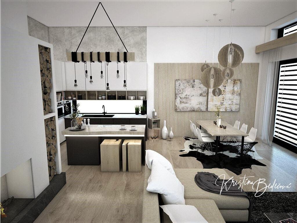 Návrh obývačky s kuchyňou Prírodné prvky v interiéri, pohľad z obývačky do kuchyne