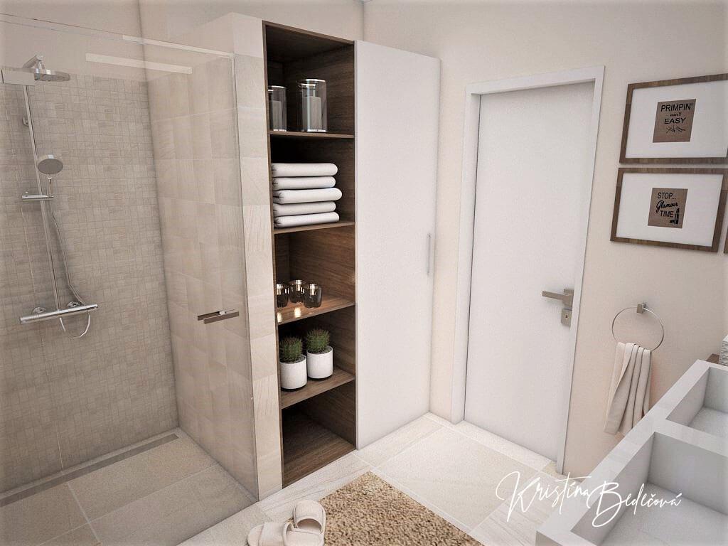 Návrh interiéru kúpeľne Stredozemie v kúpeľni, pohľad na práčku a sušičku keď sú zatvorené