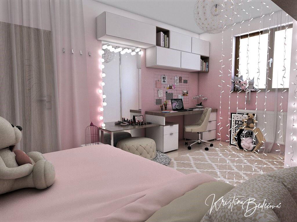 Návrh detskej izby Ombre stenám pristane -alternatíva, pohľad z postele