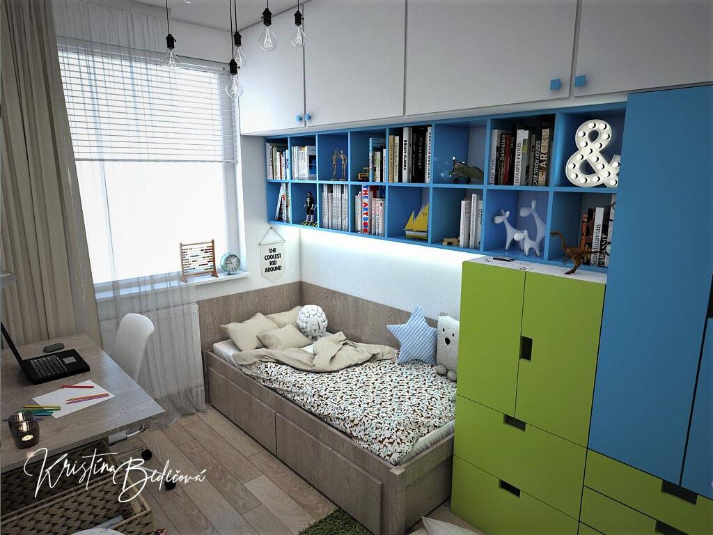 Návrh interiéru detskej Svet na dlani, pohľad detskú posteľ